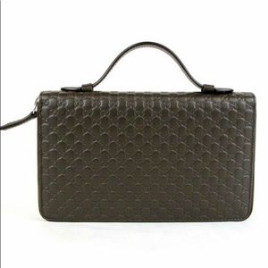 Gucci #449246 Micro-GG Large Leather Travel Wallet